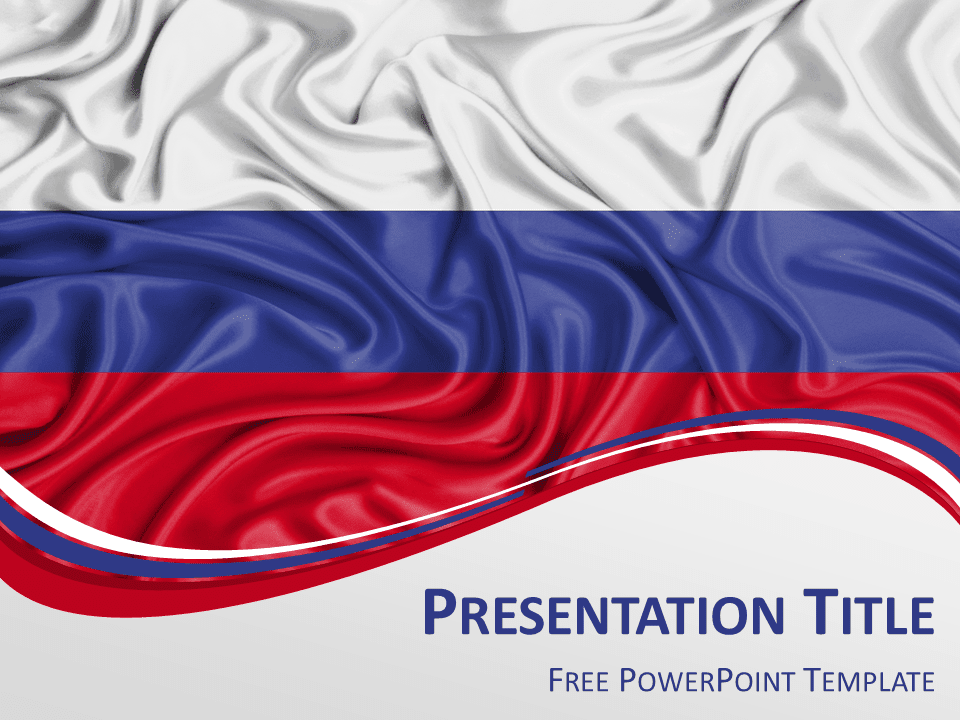 Free PowerPoint template with flag of Russia background