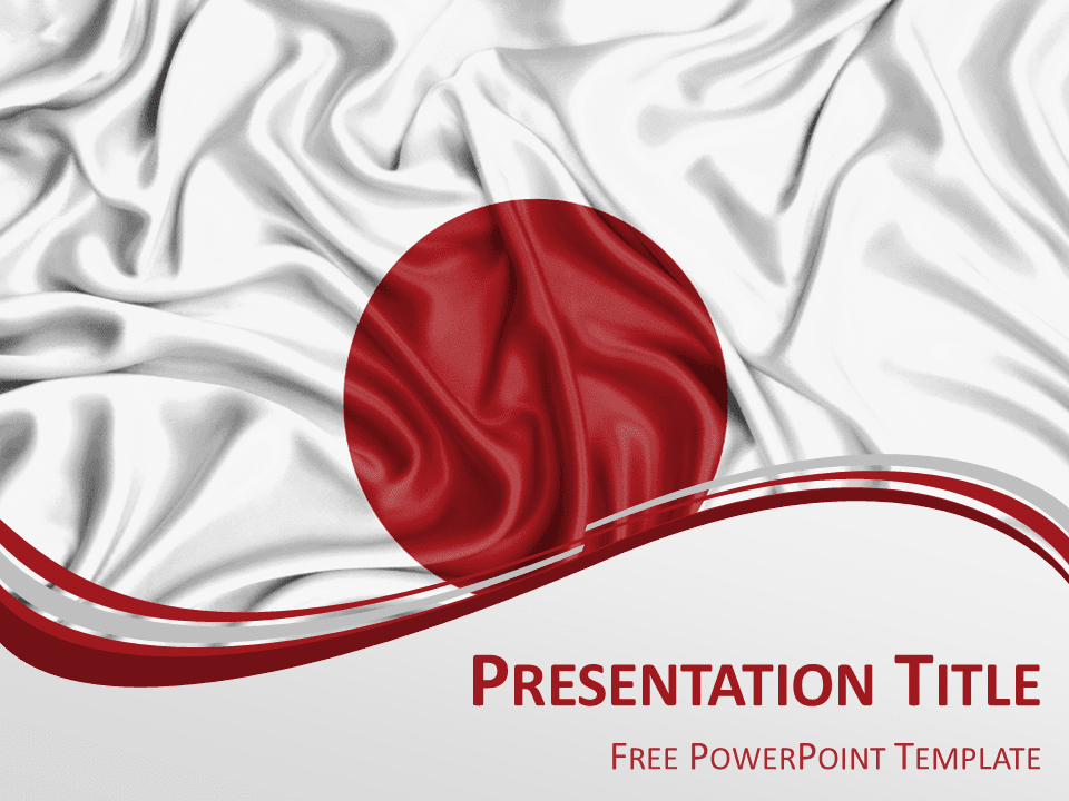 Free PowerPoint template with flag of Japan background