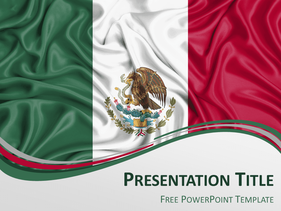 Free PowerPoint template with flag of Mexico background