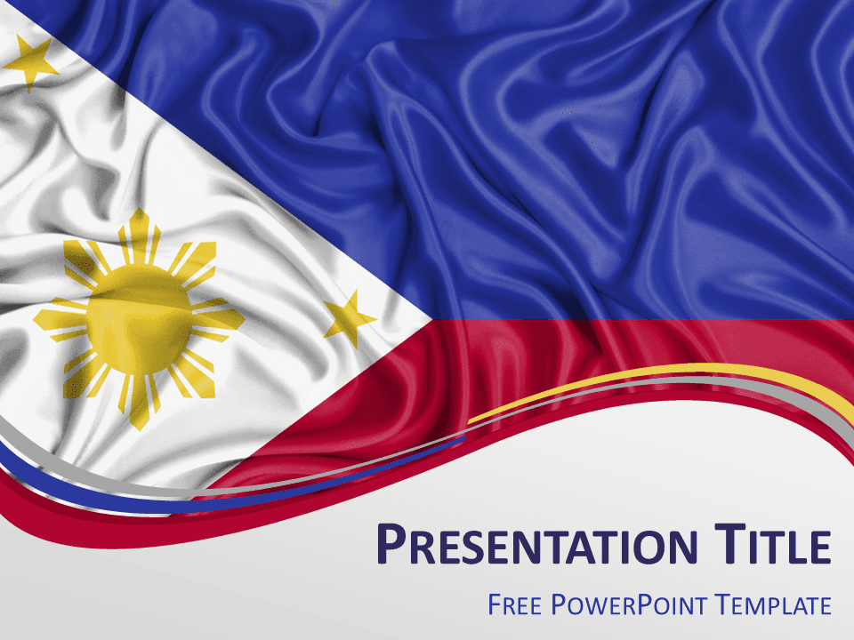view larger image free powerpoint template with flag of philippines background