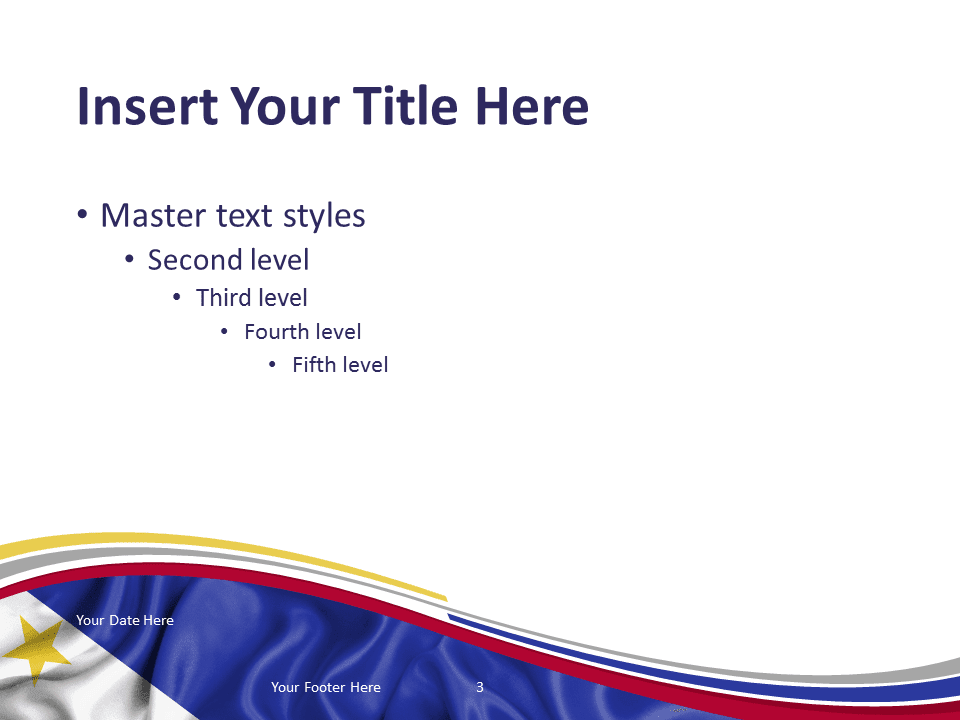 Free PowerPoint template with flag of Philippines background. Title and Content slide.