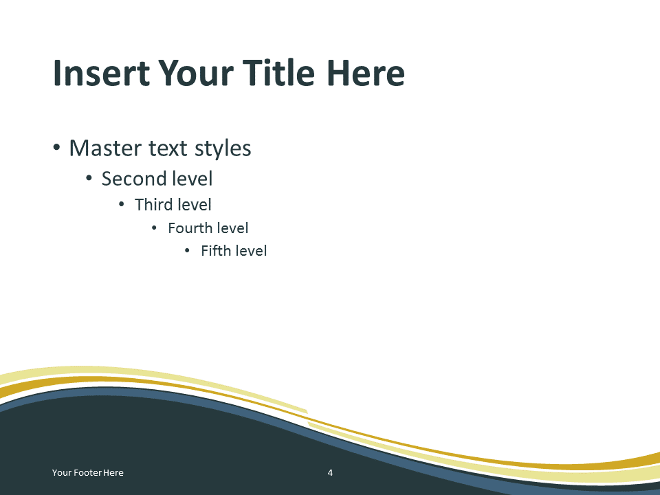 Free Golden Abstract Wave PowerPoint Template - Content Slide