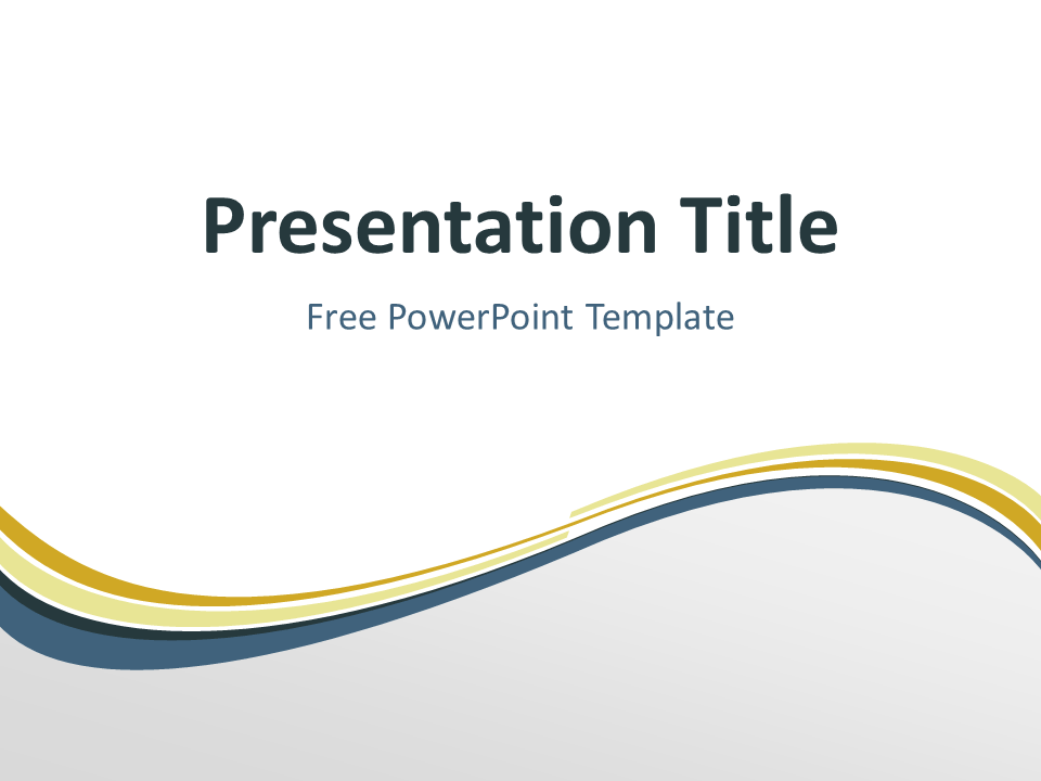 Free Golden Abstract Wave PowerPoint Template - Title Slide With Light Background