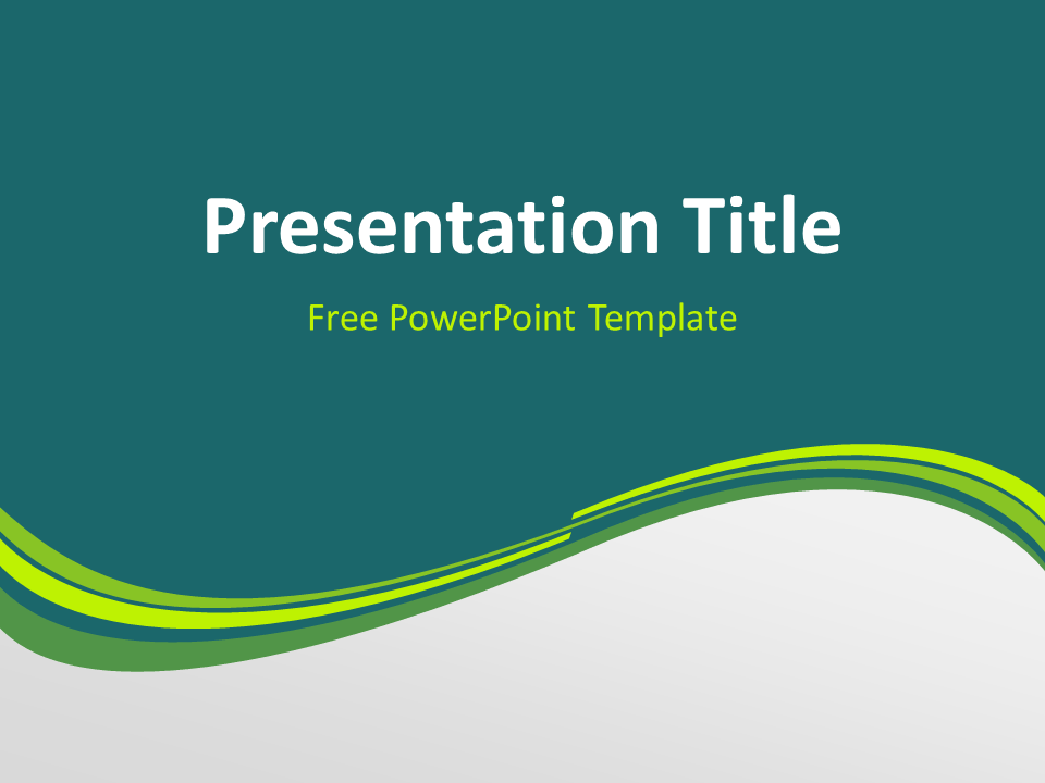 Free Green Abstract Wave PowerPoint Template - Title Slide With Dark Background