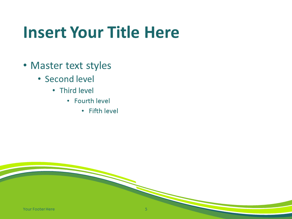 Free Green Abstract Wave PowerPoint Template - Content Slide