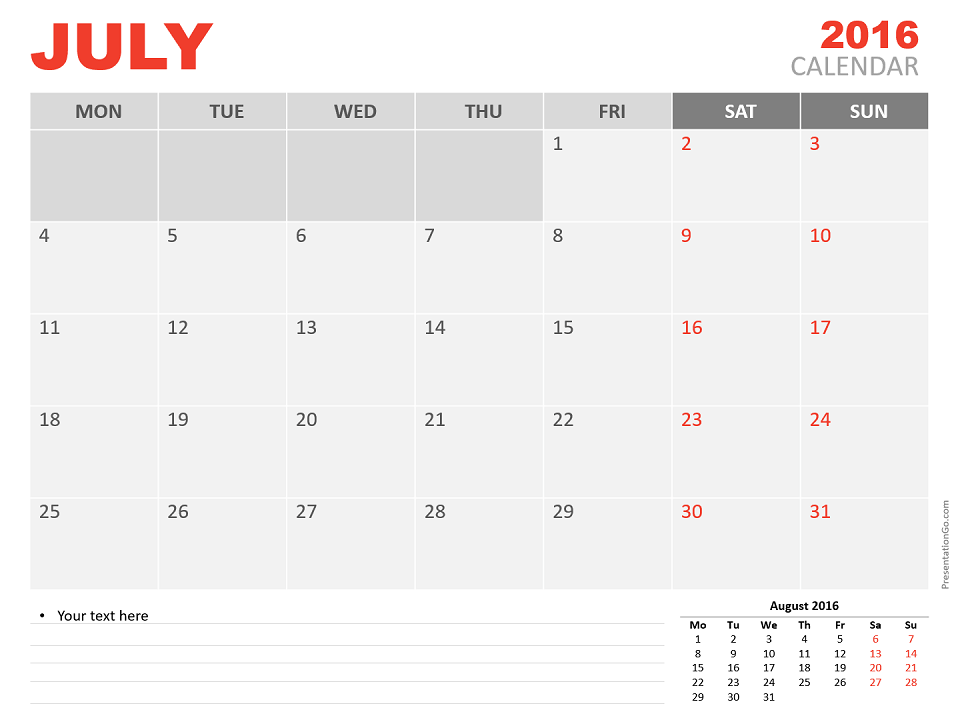 Free July 2016 PowerPoint Calendar Start Monday