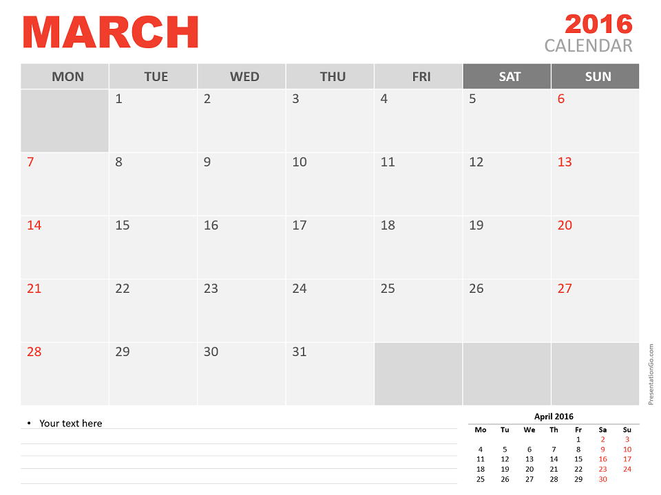 Free March 2016 PowerPoint Calendar Start Monday