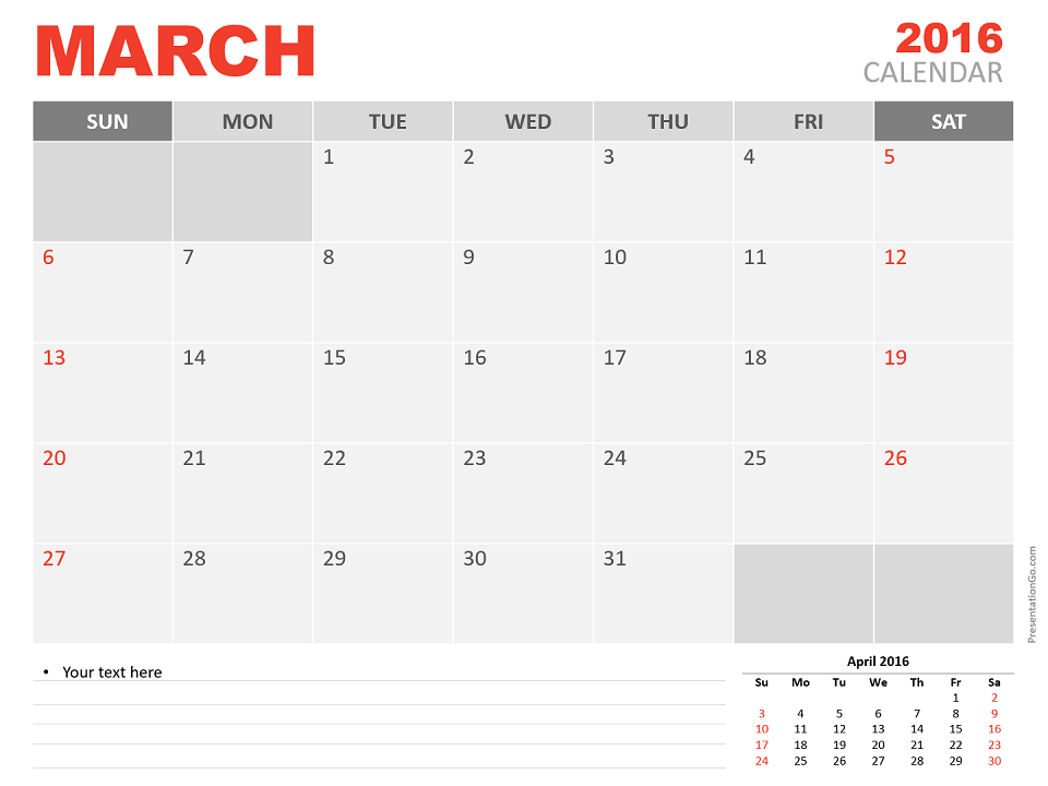 Free March 2016 PowerPoint Calendar Start Sunday