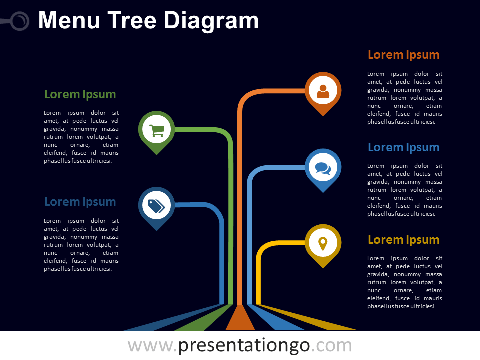 Free editable Menu Tree PowerPoint Diagram - Dark Background