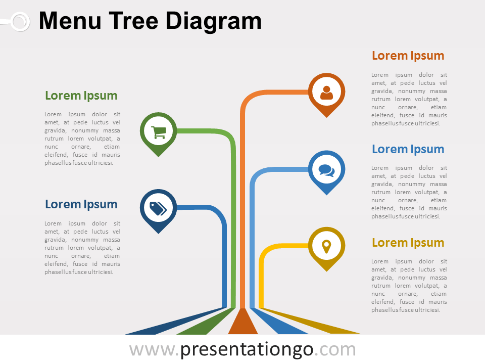 menu tree powerpoint diagram - presentationgo, Modern powerpoint