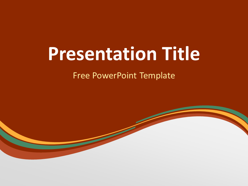 Abstract Free Orange Green Wave PowerPoint Template with dark background