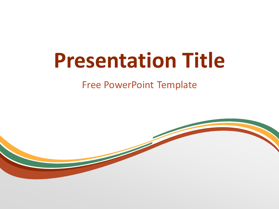 Abstract Free Orange Green Wave PowerPoint Template with light background