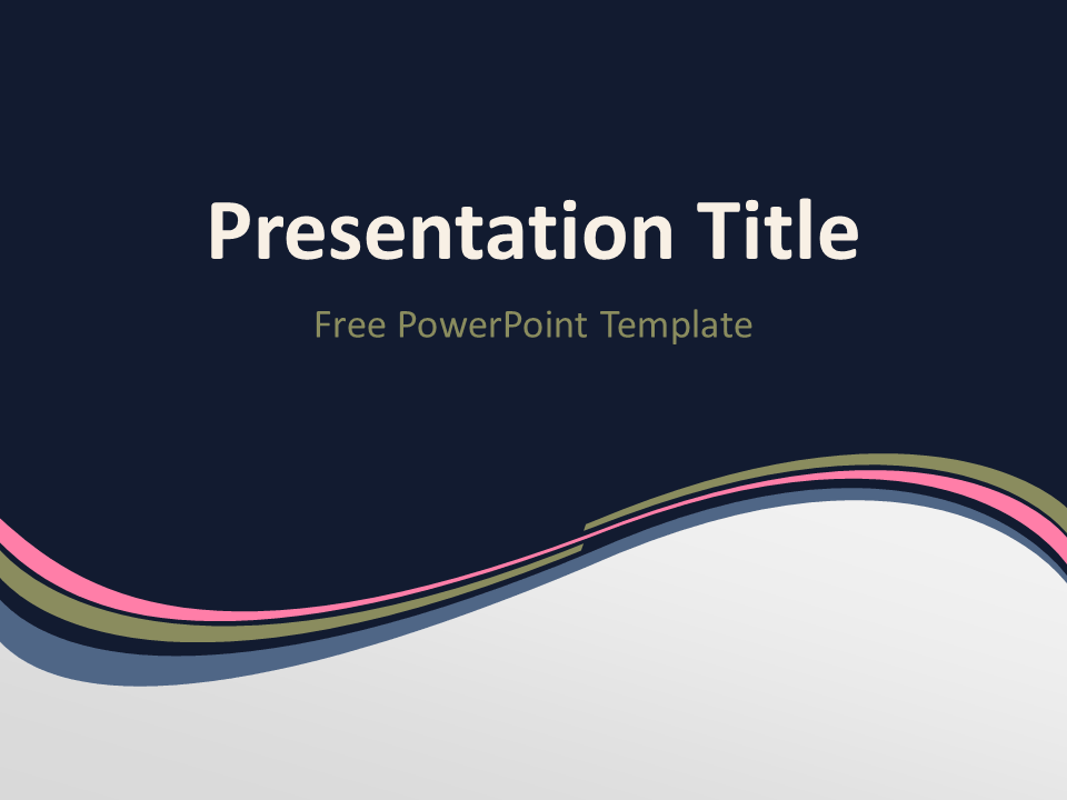 Free Pink Abstract Wave PowerPoint Template - Title Slide With Dark Background