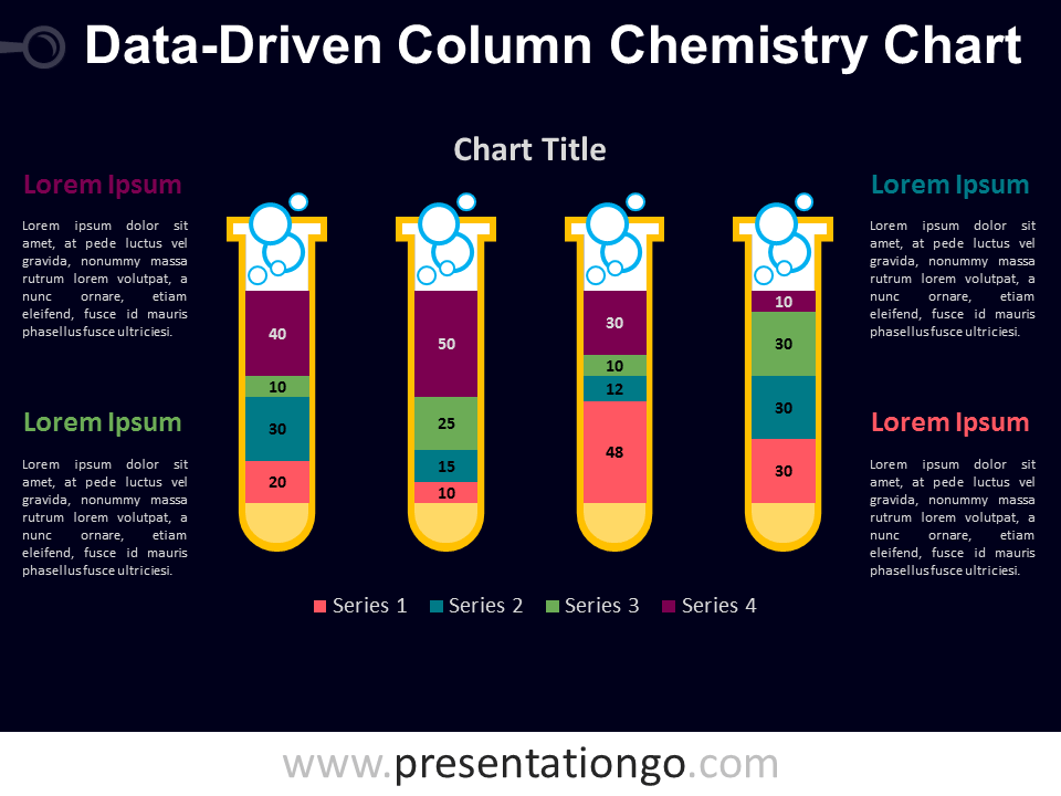Free PowerPoint chemistry chart with test tubes - Dark Background