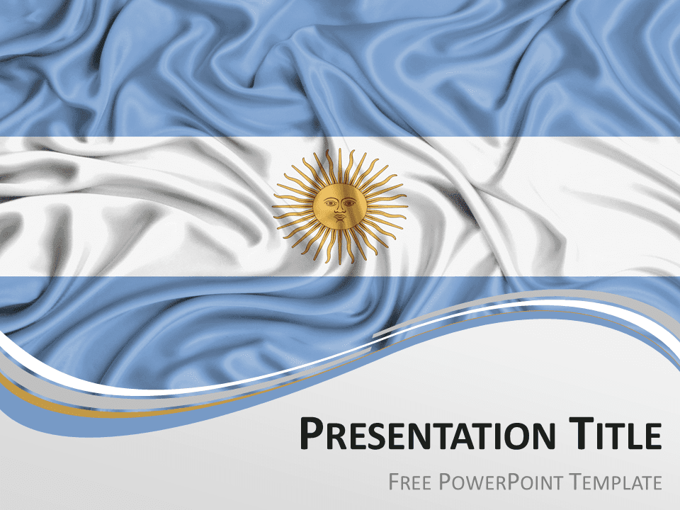 Free PowerPoint template with flag of Argentina background