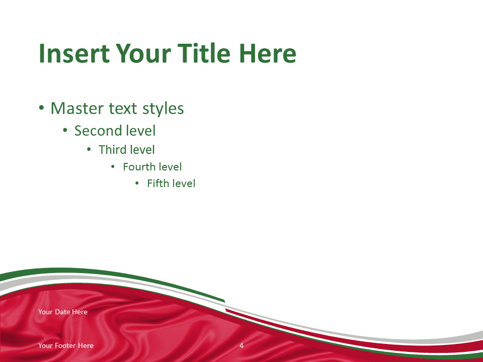 Free PowerPoint template with flag of Italy background. Title and Content slide.
