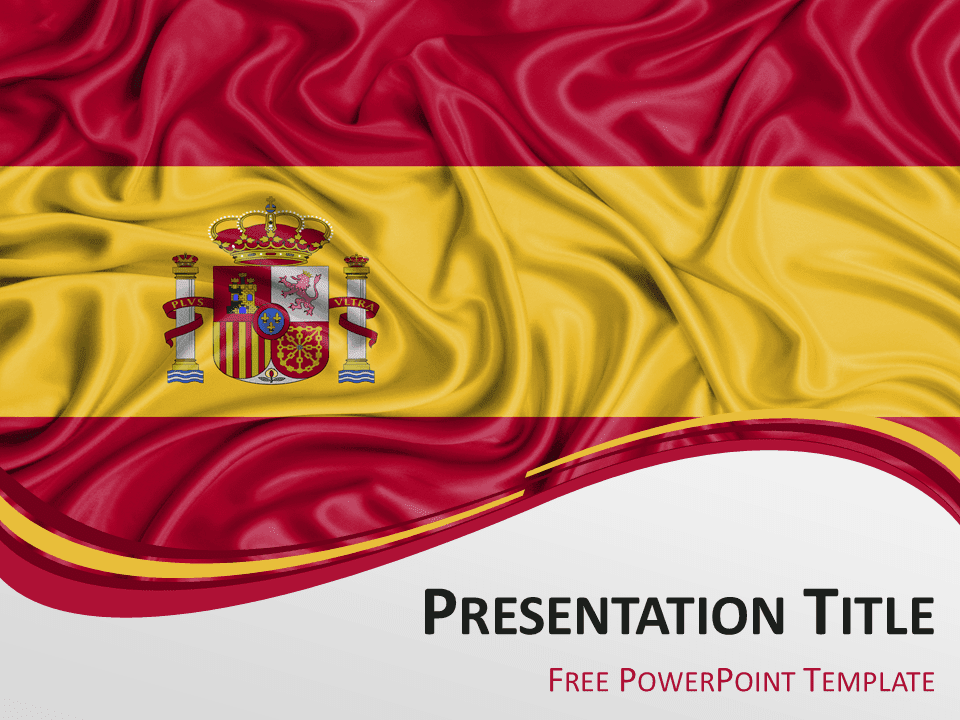 Free PowerPoint template with flag of Spain background