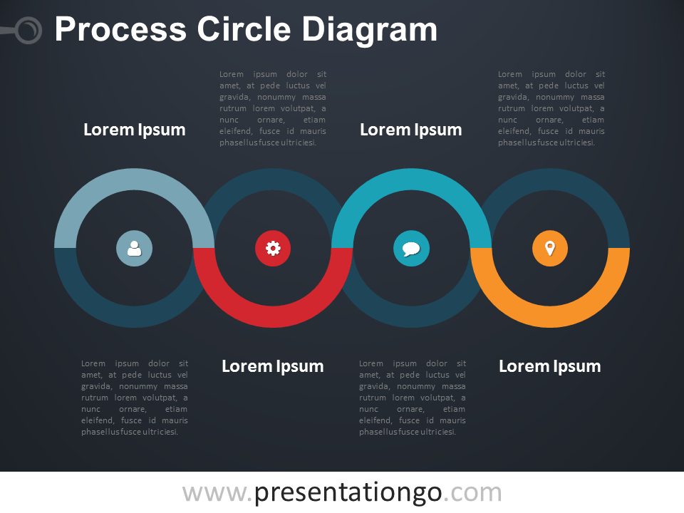 Free Process Circle PowerPoint Diagram - Dark Background