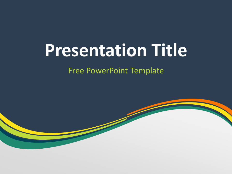 Free Spring Abstract Wave PowerPoint Template - Title Slide With Dark Background