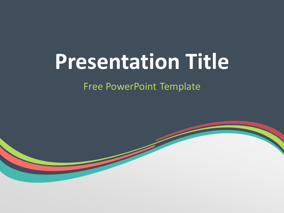 Free Verdigris Abstract Wave PowerPoint Template - Title Slide With Dark Background