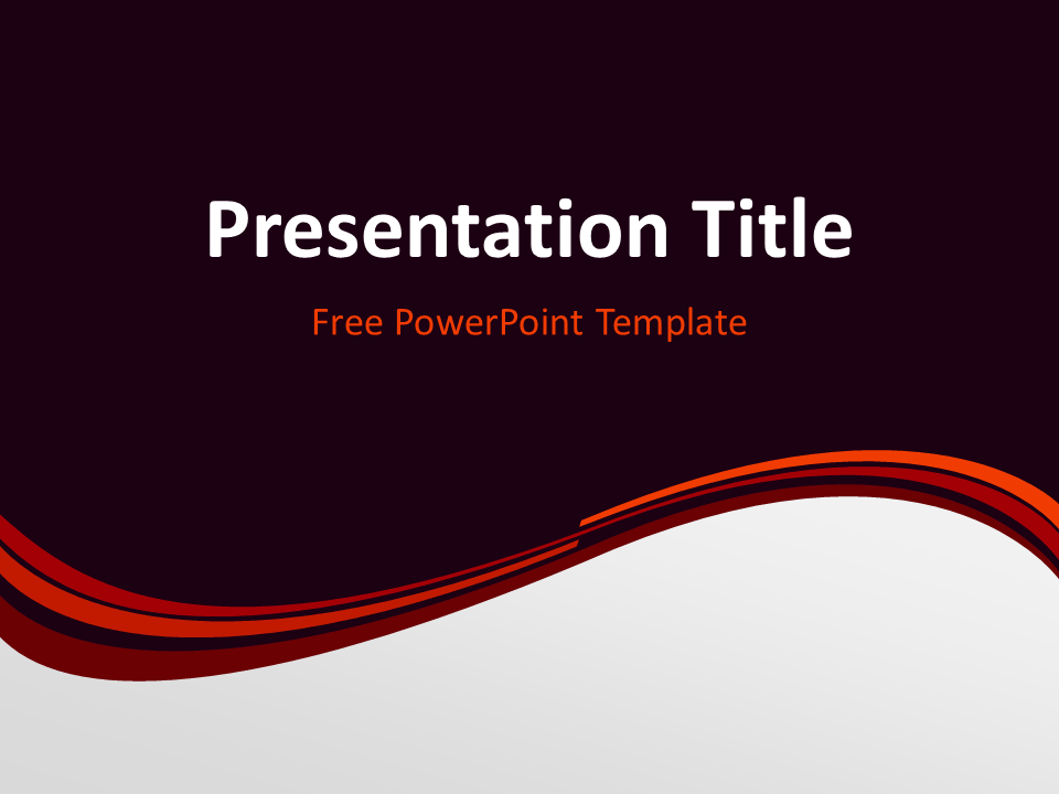 Free Vermilion Abstract Wave PowerPoint Template - Title Slide With Dark Background