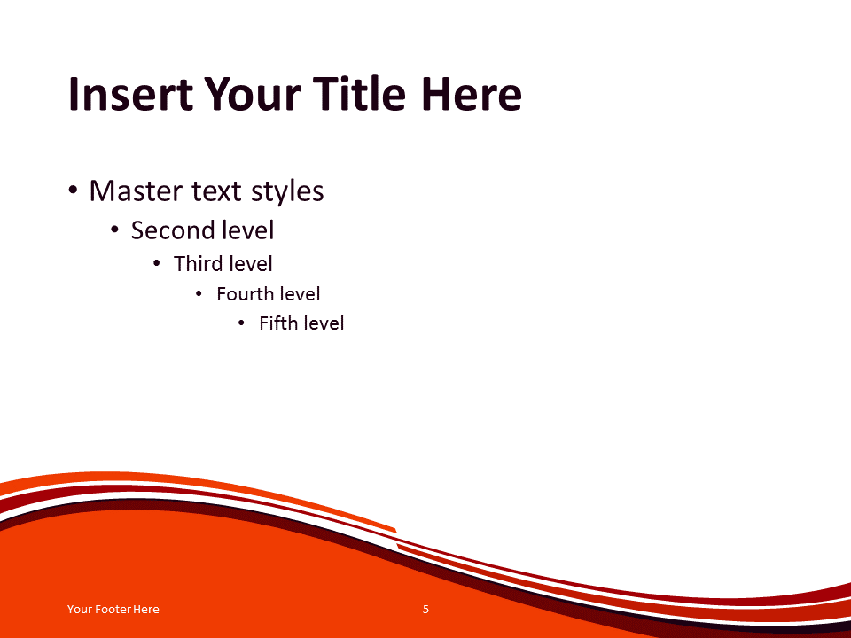 Free Vermilion Abstract Wave PowerPoint Template - Content Slide