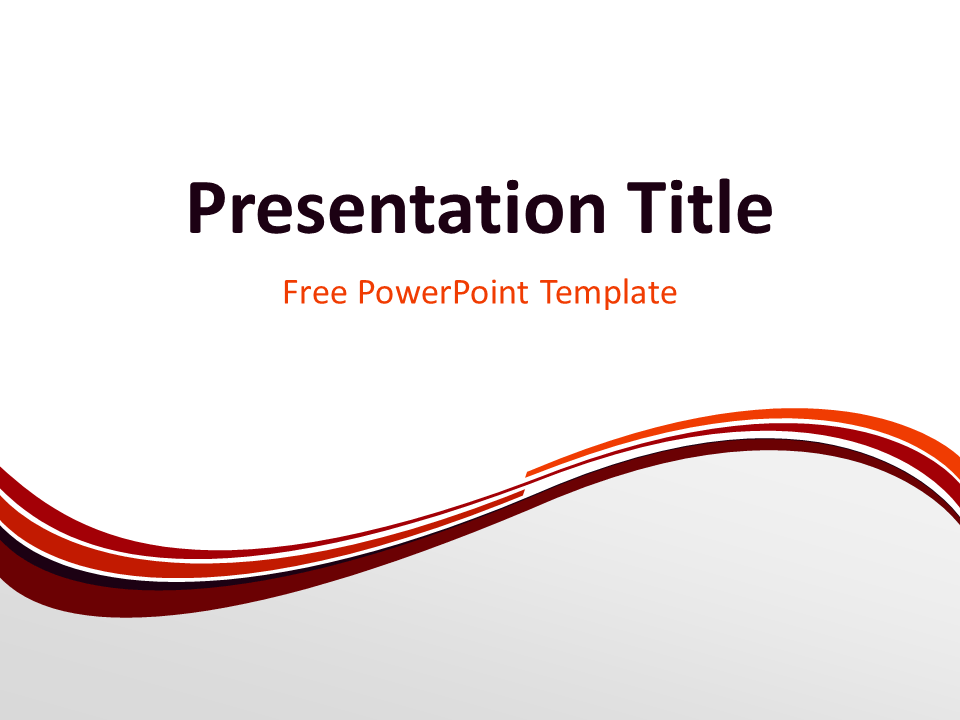 Free Vermilion Abstract Wave PowerPoint Template - Title Slide With Light Background