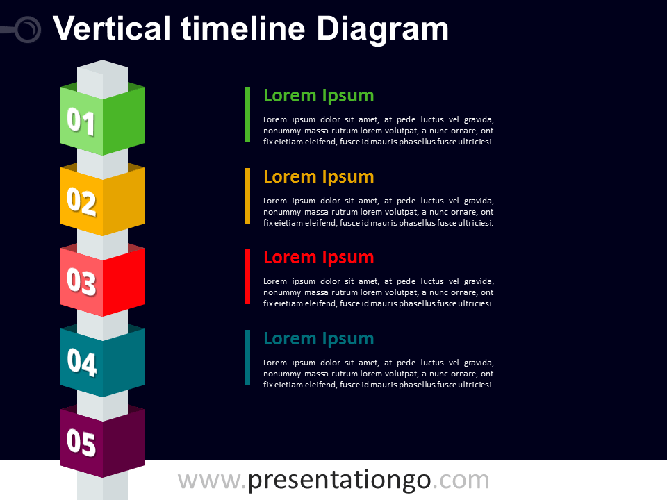 Free Vertical Timeline Cubes PowerPoint Diagram - Dark Background