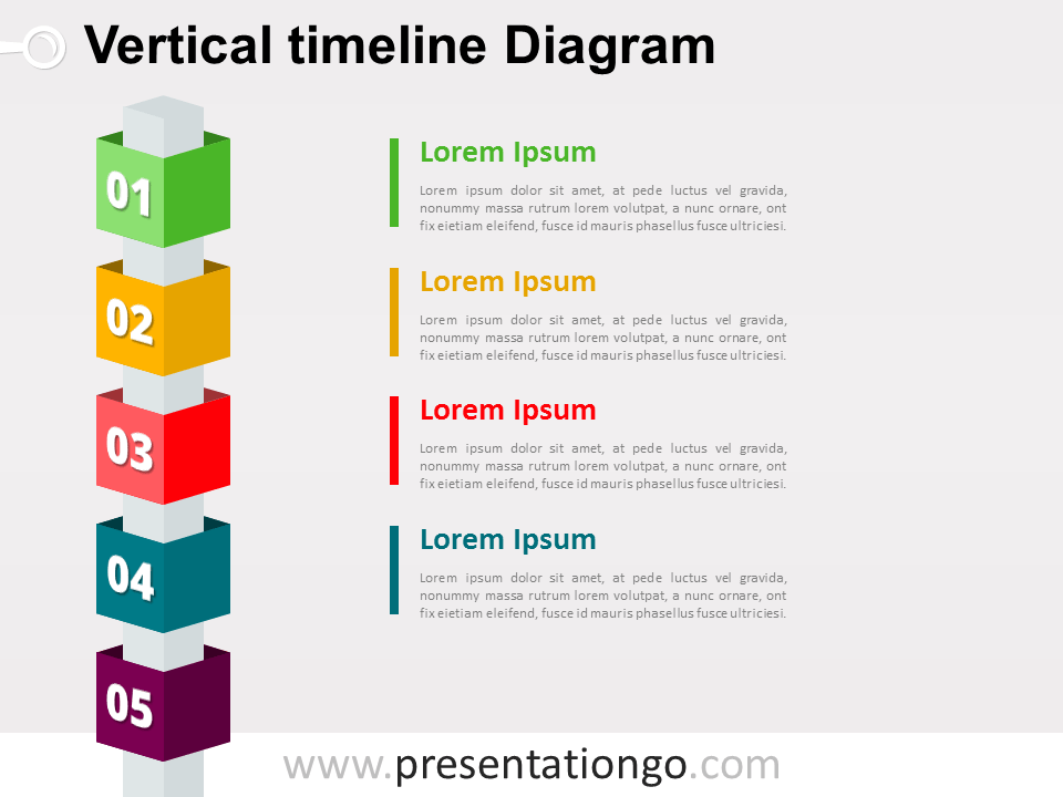Free Vertical Timeline Cubes PowerPoint Diagram