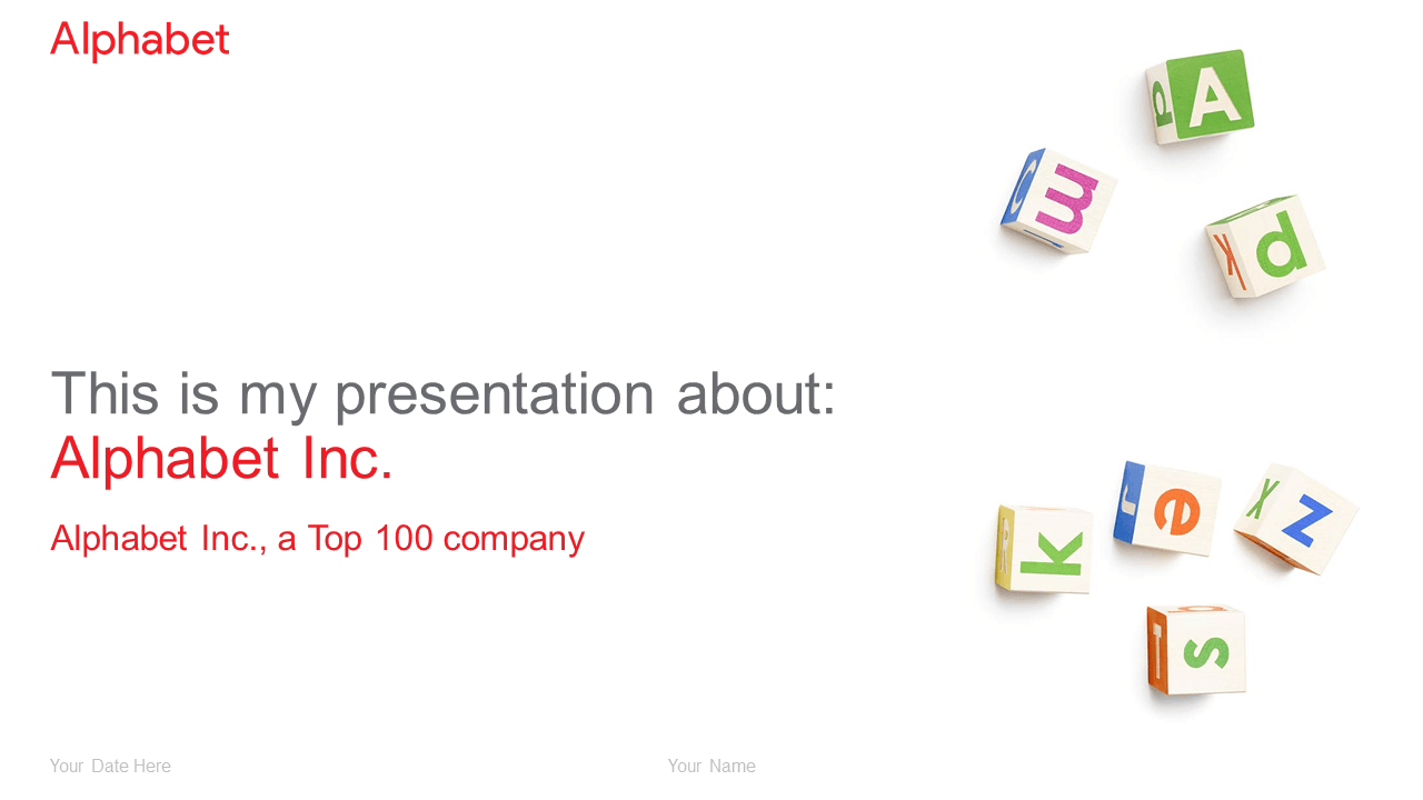 Alphabet PowerPoint template - Widescreen size (16:9)