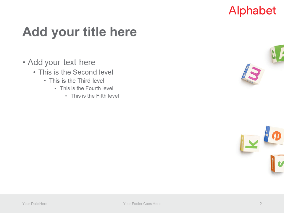 Free Alphabet PowerPoint Template - Title and Content Slide