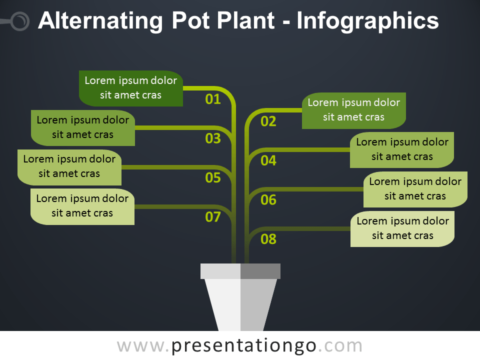 Free Alternating Pot Plant PowerPoint Diagram - Dark Background