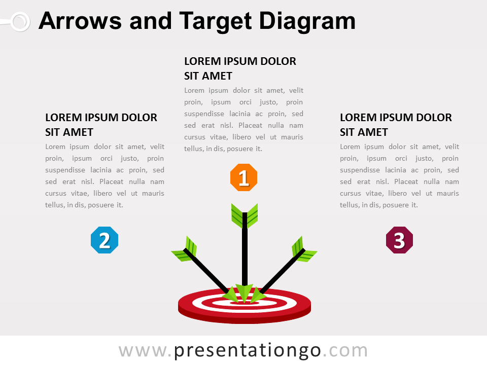 arrows and target powerpoint diagram - presentationgo, Modern powerpoint
