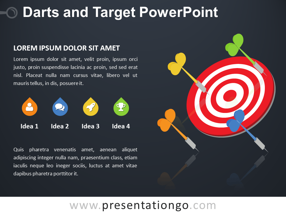 Free Darts and Target PowerPoint Diagram - Dark Background