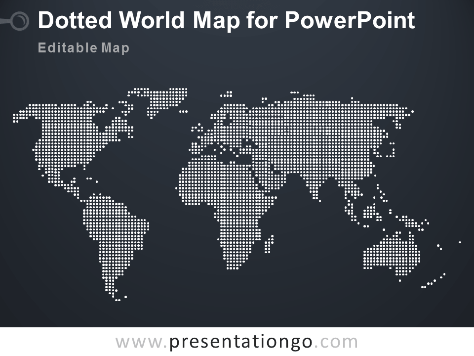 Free Editable Dotted World Map PowerPoint - Dark Background