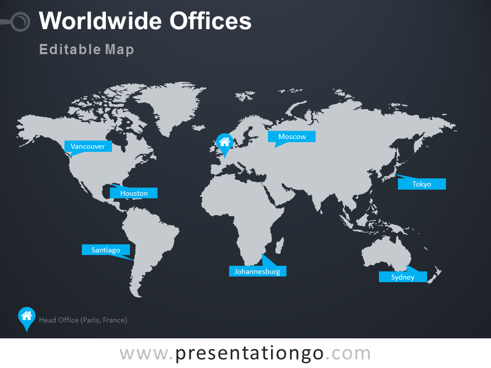 Worldwide Offices PowerPoint Worldmap PresentationGo - Us map powerpoint template