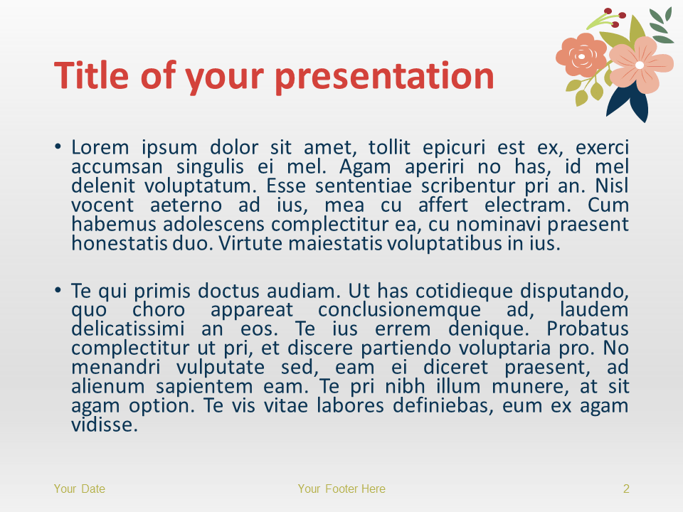 Free Floral Spring PowerPoint Template - Title and Content Slide