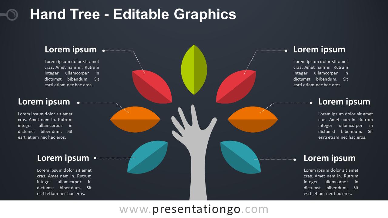 Hand Tree PowerPoint Diagram - Dark Background - Widescreen size (16:9)