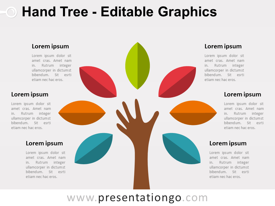 Free Hand Tree PowerPoint Diagram - Colored leafs