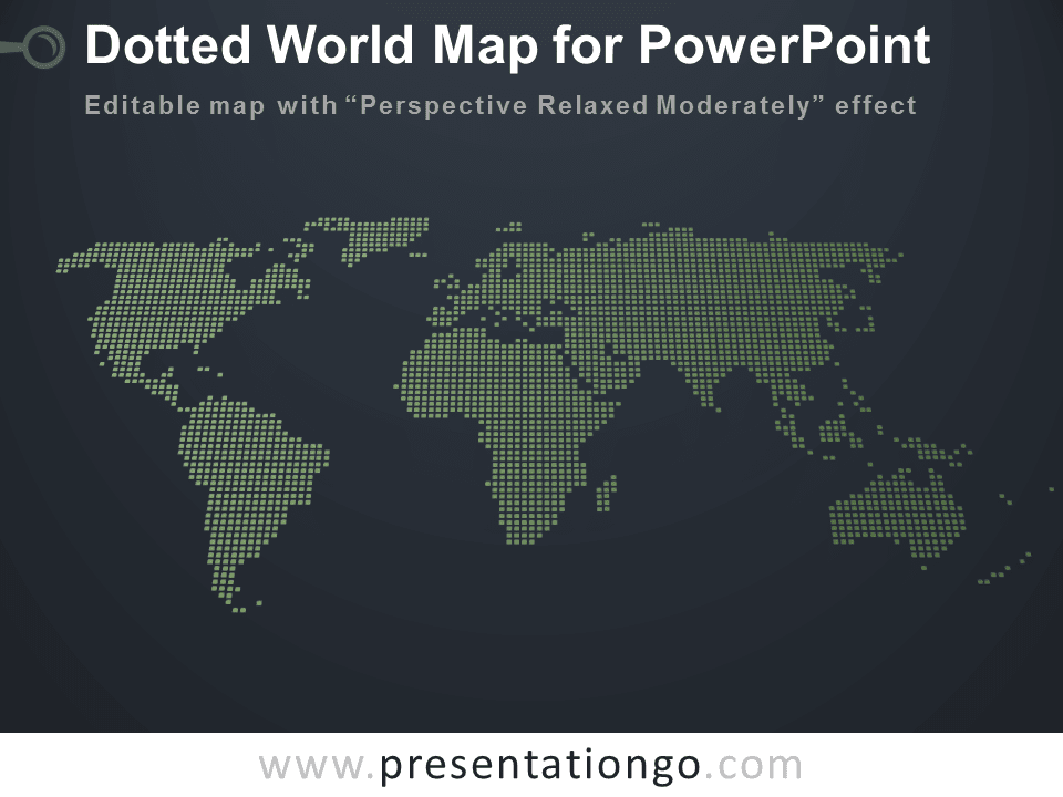 Free 3D Perspective Dotted World Map PowerPoint - Dark Background