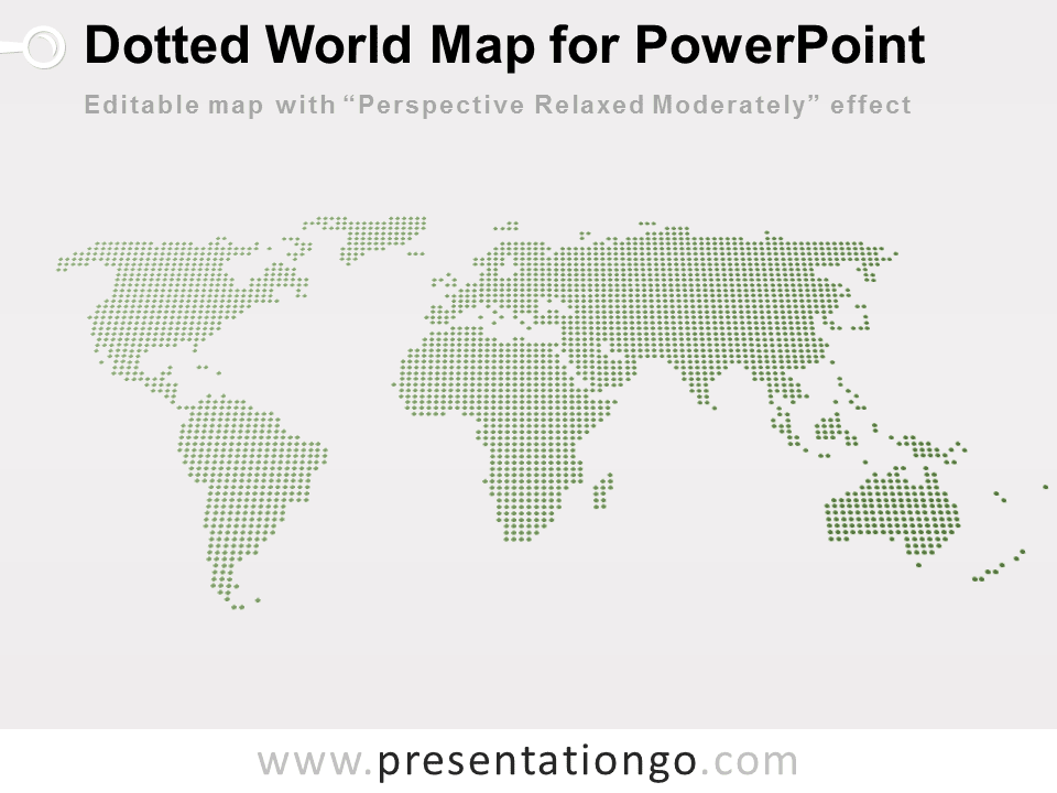Free 3D Perspective Dotted World Map PowerPoint