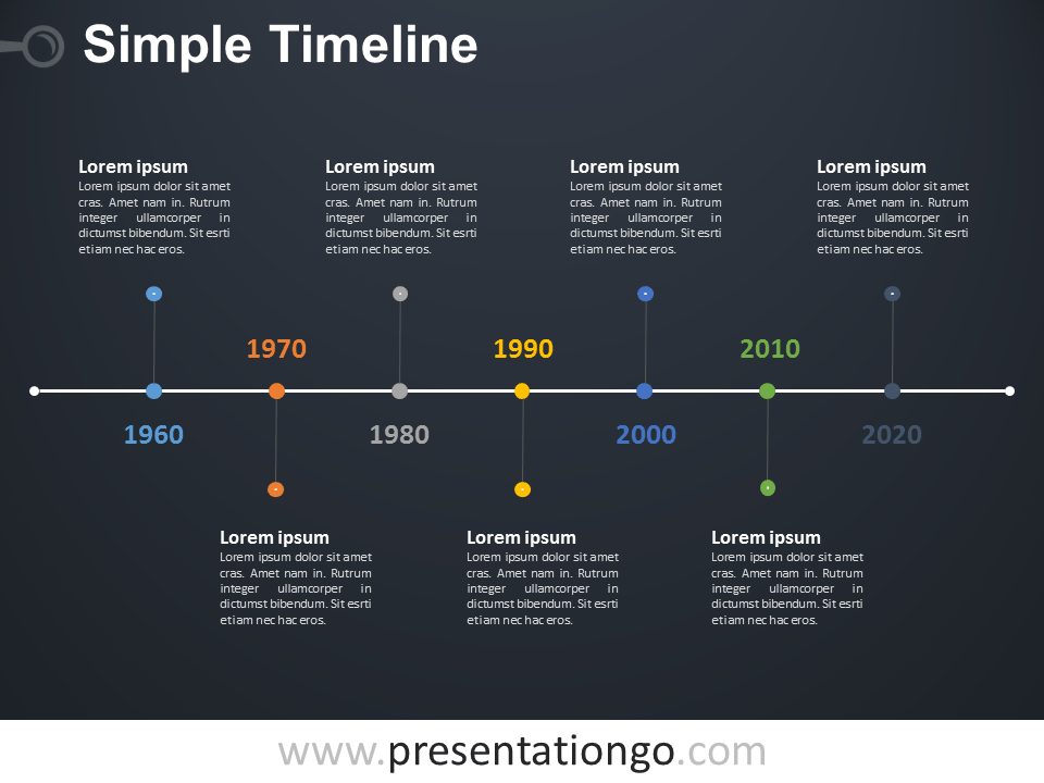 Free editable Simple Timeline PowerPoint Diagram - Dark Background