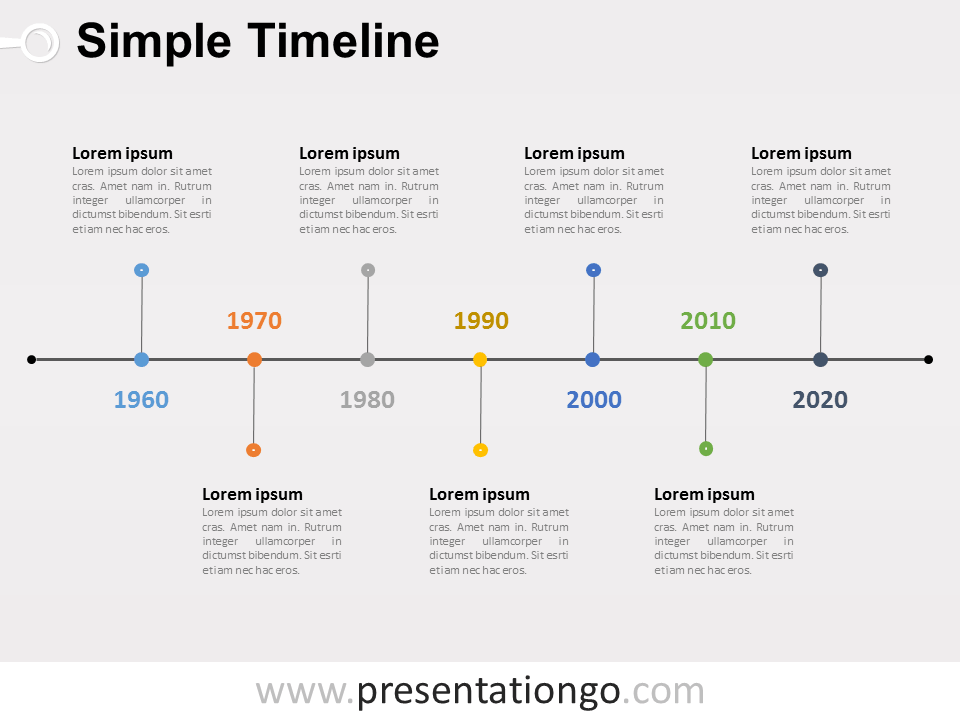 Free editable Simple Timeline PowerPoint Diagram