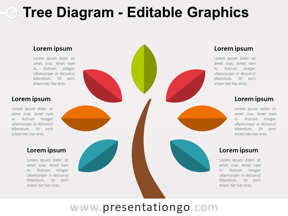 Free Simple Tree PowerPoint Diagram with Colored Leafs