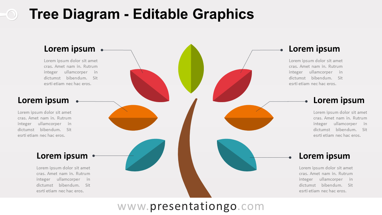 Simple Tree PowerPoint Diagram with Colored Leafs - Widescreen size (16:9)