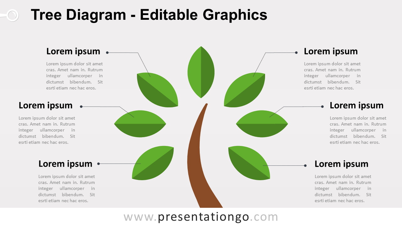 Simple Tree PowerPoint Diagram - Widescreen size (16:9)