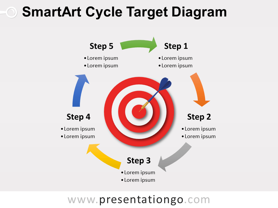 smartart cycle target powerpoint diagram, Modern powerpoint