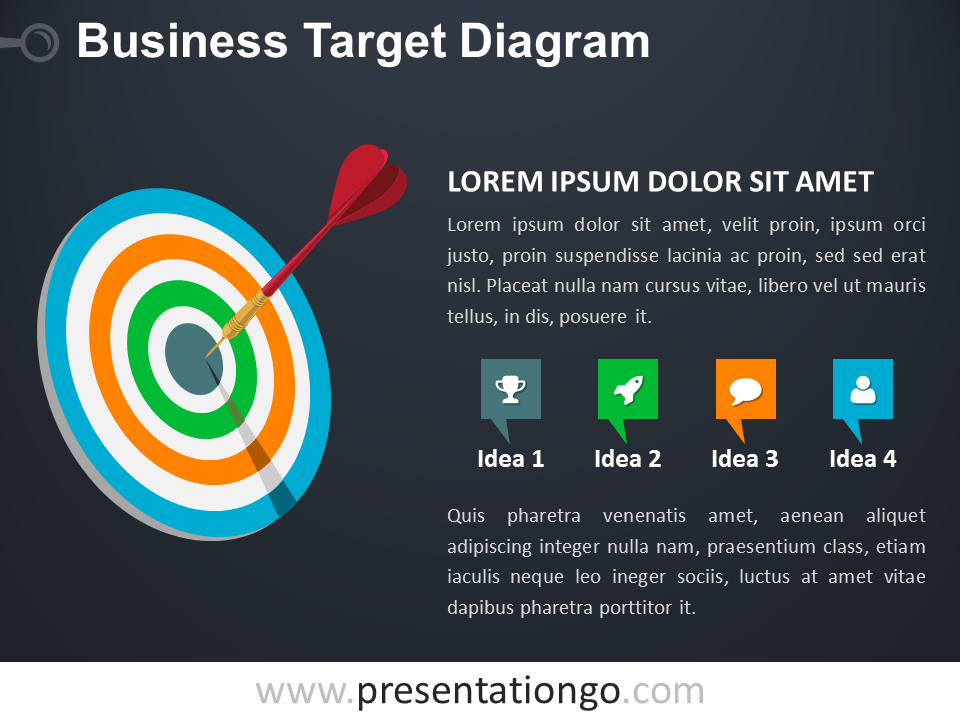 Free Target Business PowerPoint Diagram - Dark Background