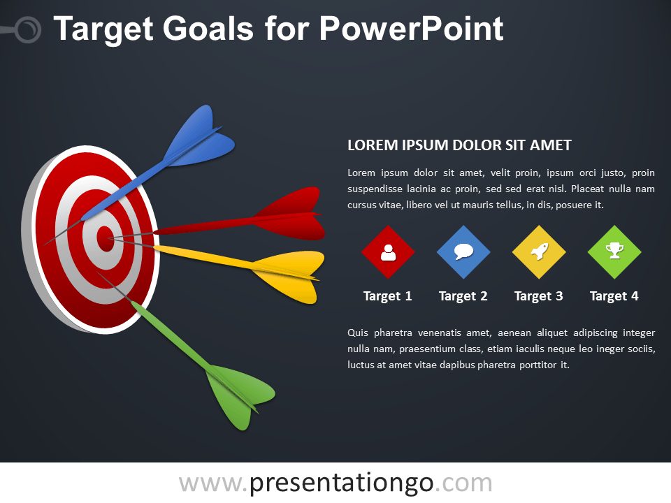 Free Target Goals PowerPoint Diagram - Dark Background