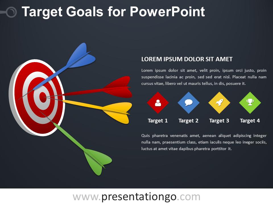 Free Target Goals PowerPoint Diagram - Dark Background